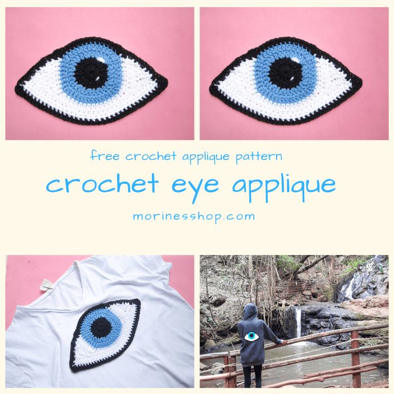 Free crochet eye applique pattern
