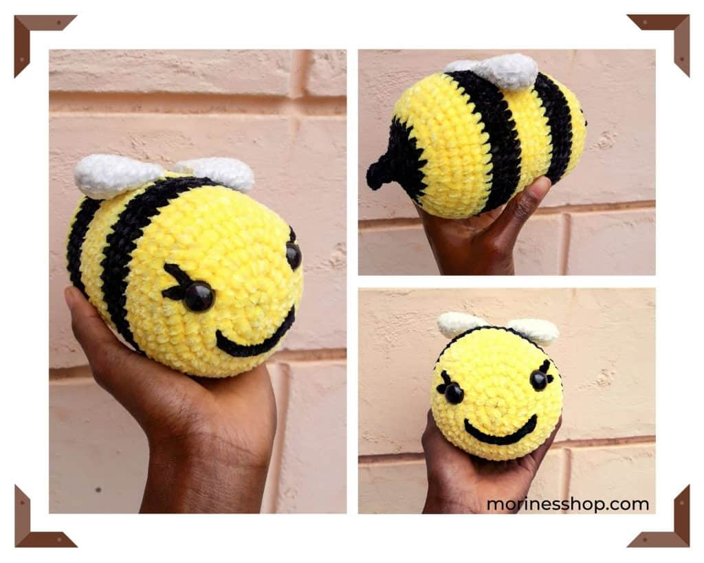 Heimlich the bee is an easy crochet amigurumi pattern. This pattern works up really fast and is beginner friendly. #CrochetBee #BeeCrochet #FreeCrochetPattern #Amigurumi #HeimlichTheBee