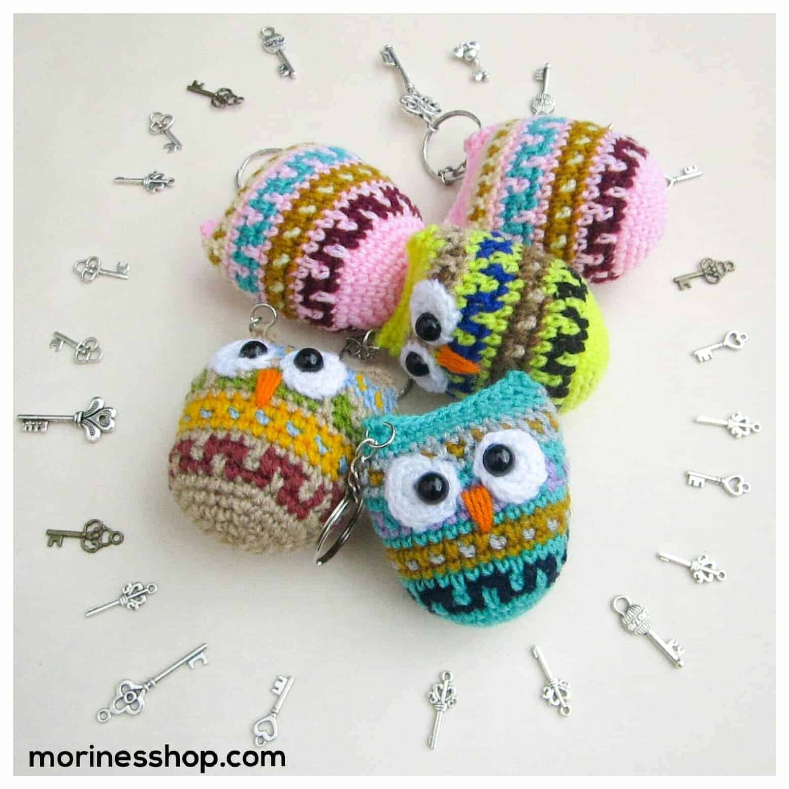 Crochet owl key chain