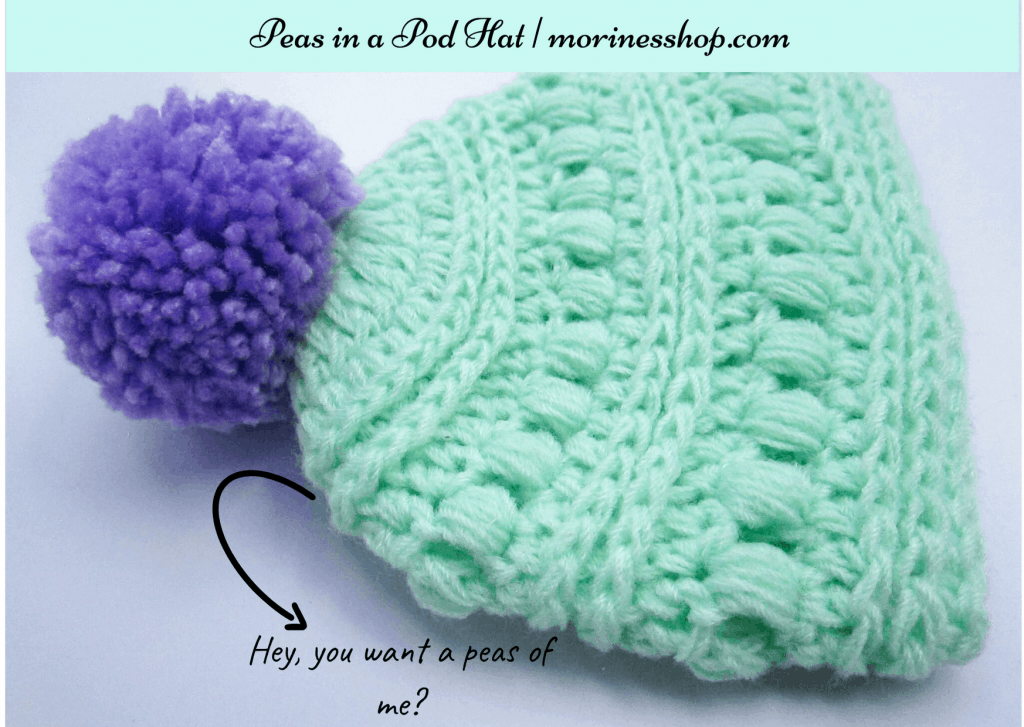 Close up of peas in a pod hat- How to crochet the bobble stitch, puff stitch and popcorn stitch