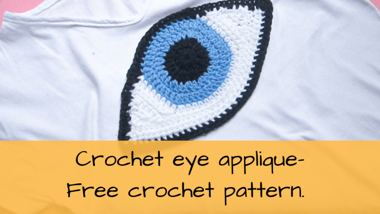 Eye applique attached to a t-shirt