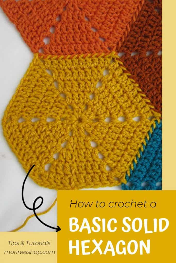 How to crochet a basic solid hexagon. A detailed tutorial with pictures to guide you. #crochethexagon #crochetsolidhexagon #crochethexies #crochet #crochettutorial