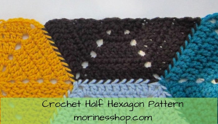 Learn how to crochet a half hexagon with this easy step-by-step picture tutorial. Applicable to all yarn weights and hook sizes #CrochetHexagon #CrochetHalfHexagon #CrochetHexi #CrochetTutorial #CrochetTips