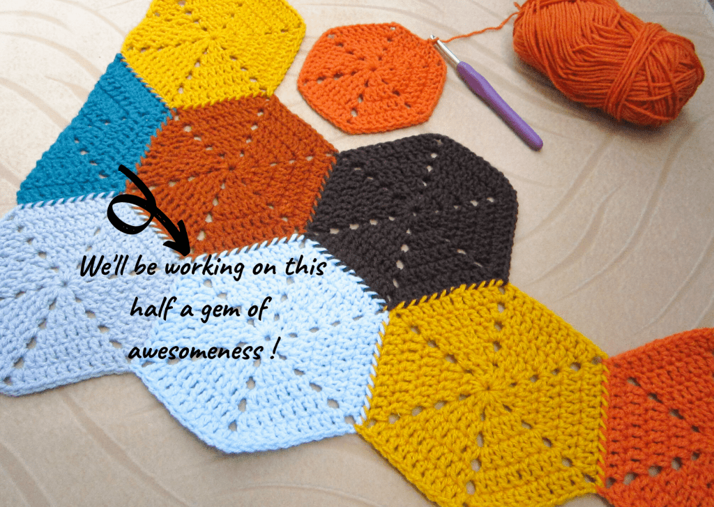 Picture showing the placement of a crocheted half hexagon