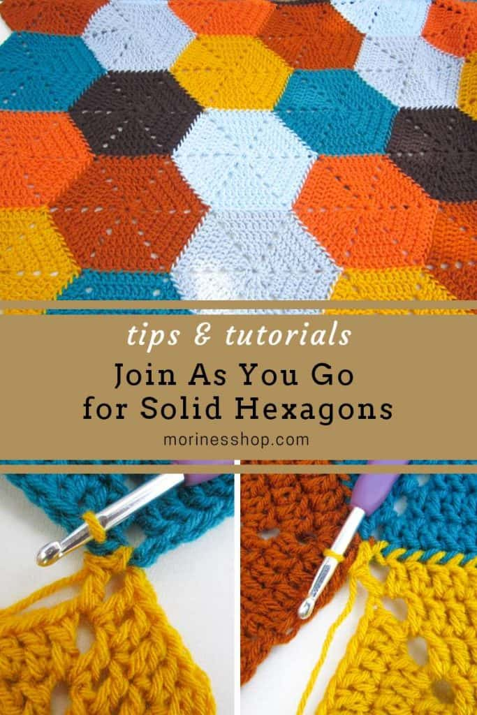 How to join as you go (JAYG) for solid hexagons. Learn how to crochet join hexagons as you go using the pull through loop method with these simple, easy to follow instructions with picture tutorials. Applicable to all yarn weights and hook sizes.