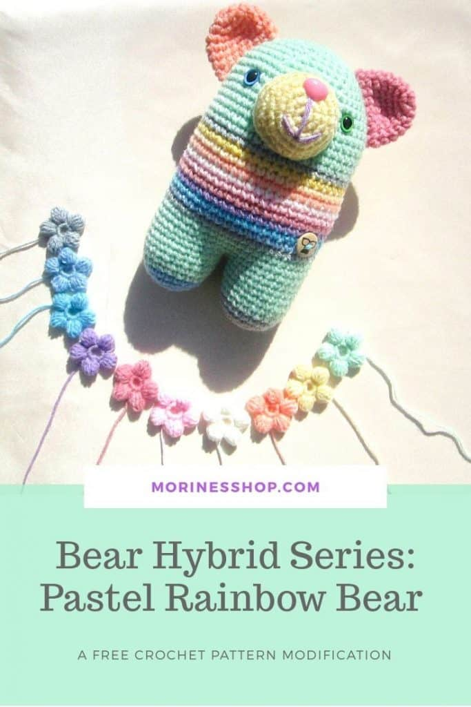 Pastel Rainbow Bear is a free crochet amigurumi pattern modification. It contains all the details needed to transform the original pattern linked.