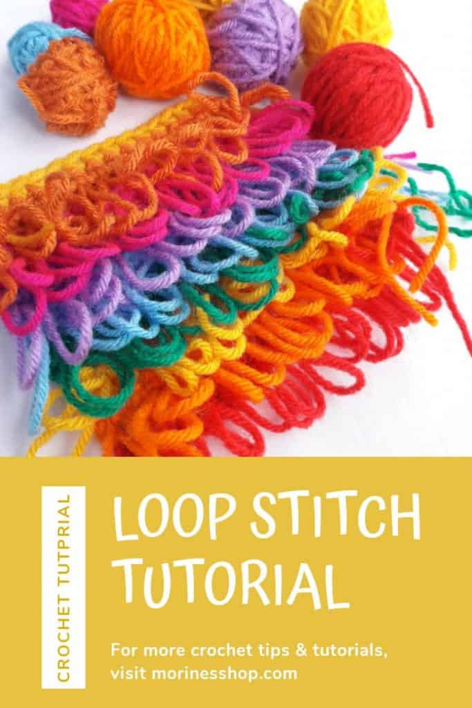 This is a quick how-to on crocheting the loop stitch, a simple crochet stitch which creates a nicely textured fabric made from loops. #CrochetTutorial #LoopStitch #StitchTutorial #CrochetLoop #CrochetLoopStitch