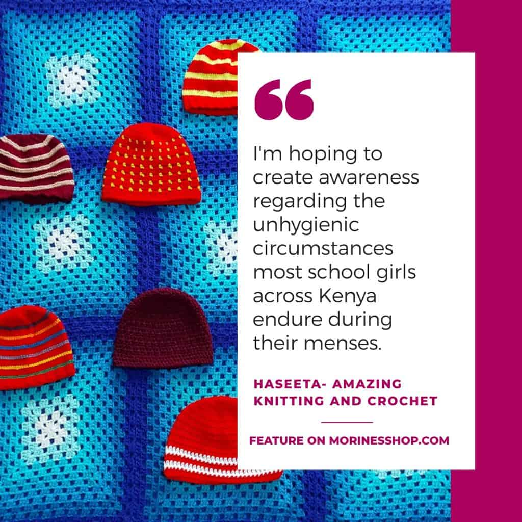 This month's feature artist is Haseeta of Amazing Knitting and Crochet, a group that loves to crochet items for donation all over the world.