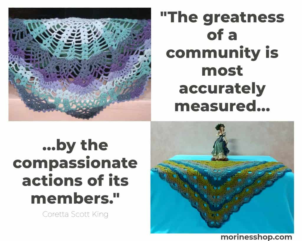 Crochet Shawls and Quote on Community