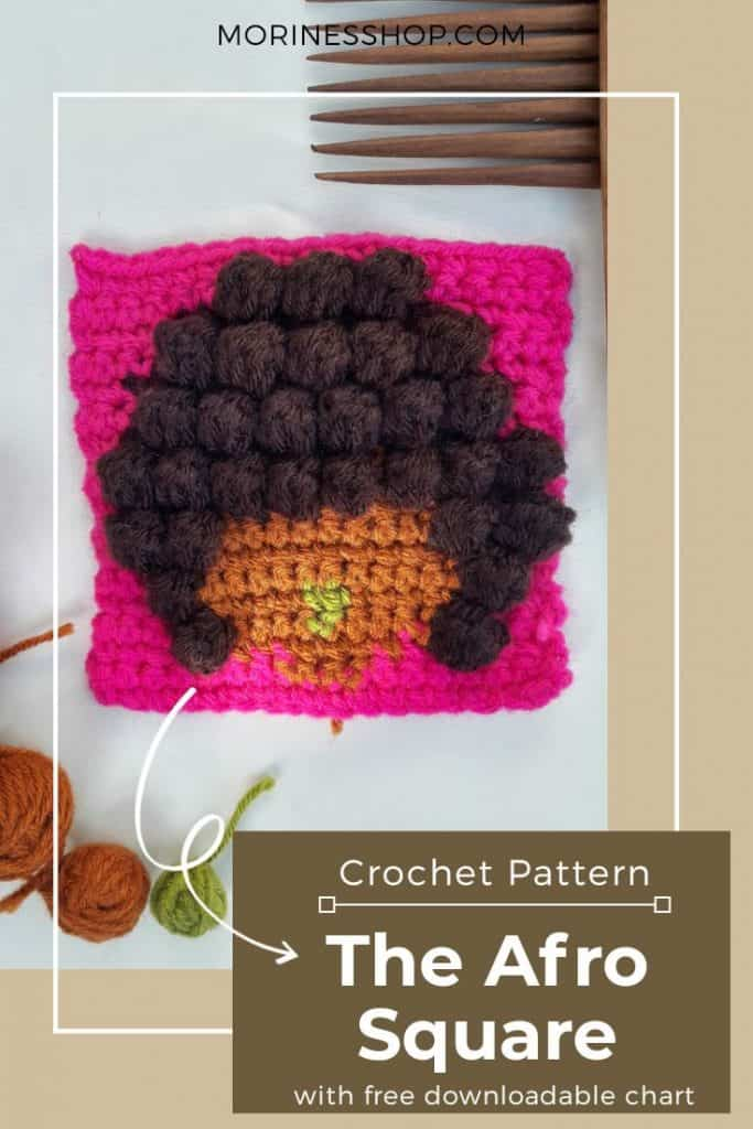 The Afro Square is a free crochet pattern that uses simple crochet stitches & intarsia crochet technique to bring a beautiful effect #CrochetAfroSquare #CrochetTexture #CrochetBobbles #IntarsiaCrochet #CrochetTutorial