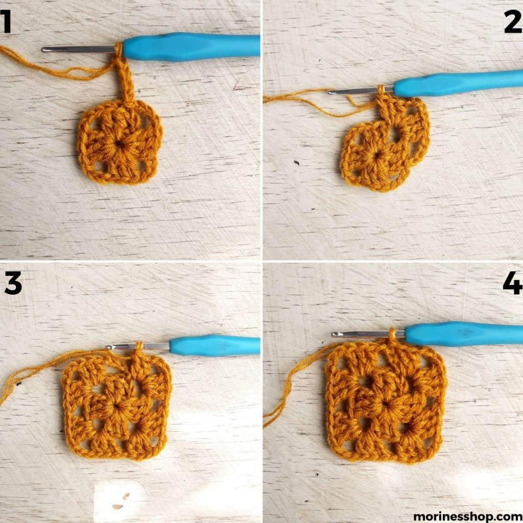Round 2 in crochet granny square