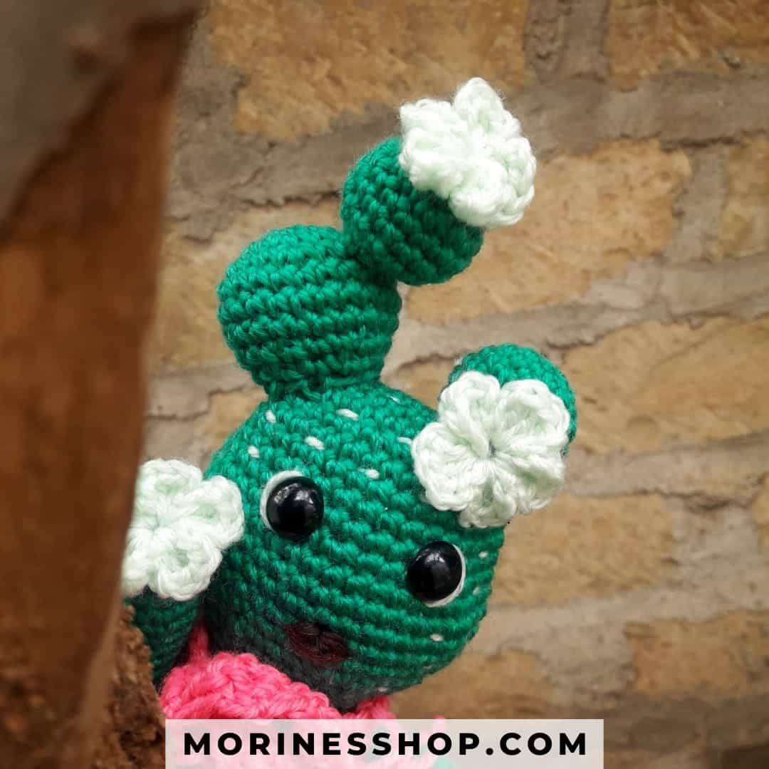 This is a crochet pattern on how to crochet a beautiful cactus doll. The pattern is free and uses simple crochet terms and stitches. #CrochetCactus #AmigurumiCactus #CrochetPlant #CrochetSucculent #CactusDecor