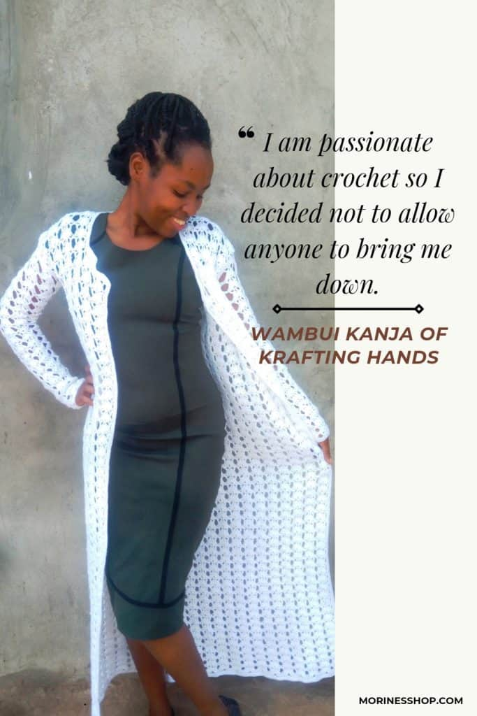Read about Wambui Kanja of Krafting Hands as she takes us through her crochet journey filled with strength and resilience. #Shuhuda_OurStories #KraftingHands #CrochetFashion #SustainableFashion #Sustainable