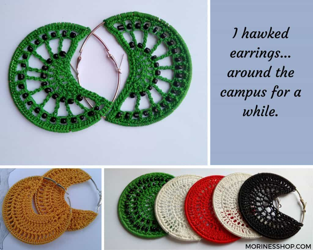 I hawked earrings, hair clips and bows around the campus for a while. Then I discovered Facebook and Instagram. That's when I officially launched my business online #Shuhuda_OurStories #KraftingHands #CrochetFashion #SustainableFashion #Sustainable