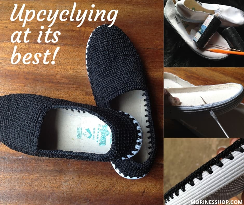 A pair of upcycled shoes made by Wambui of Krafting Hands