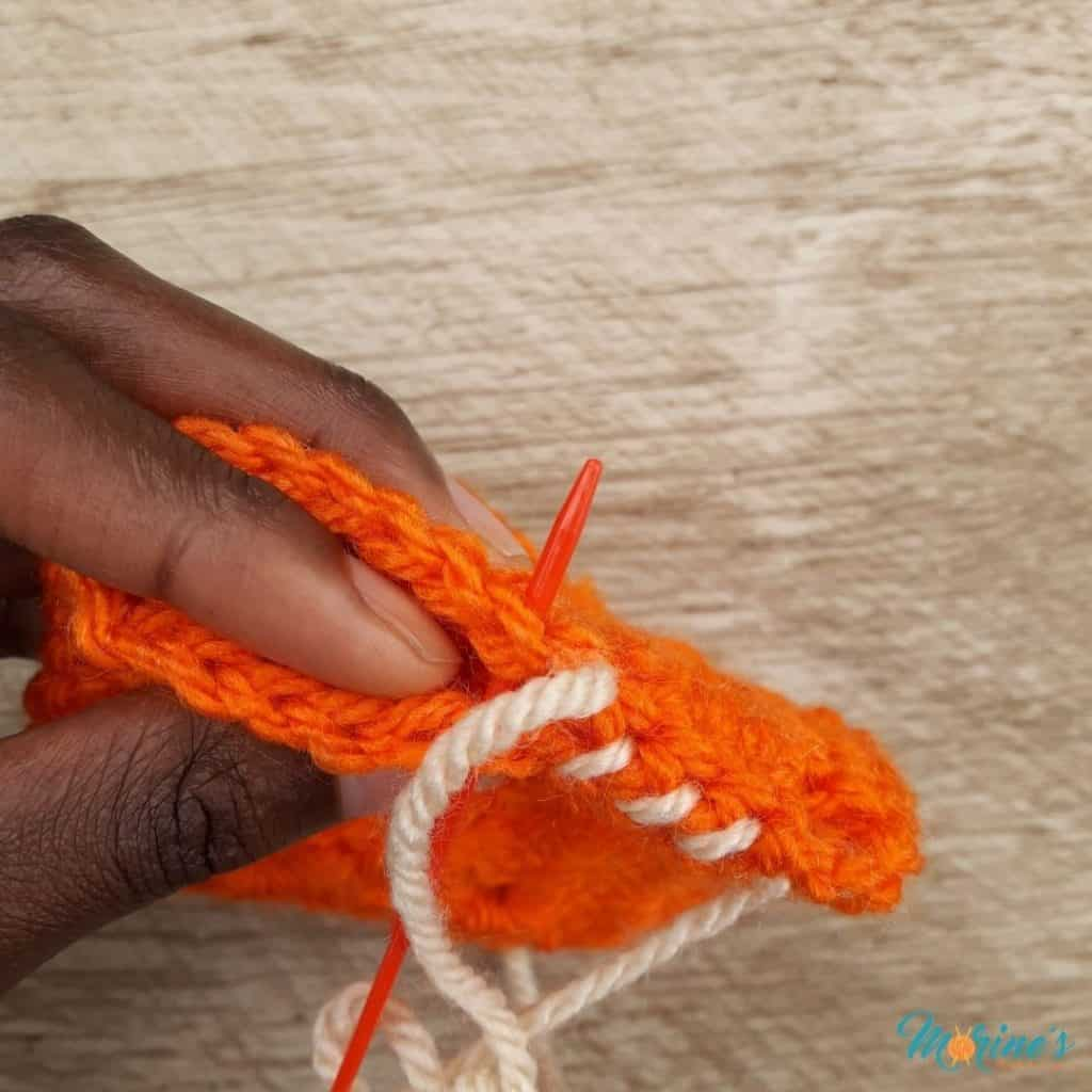 move on to the third set of stitches in the same manner.