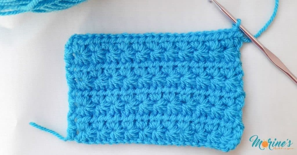 Row 16 of crochet period pouch
