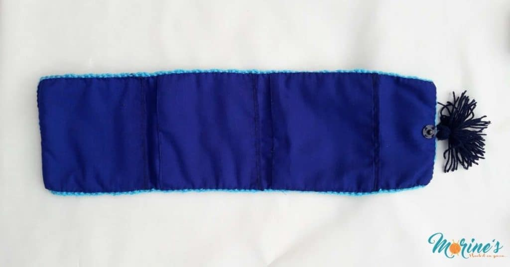 Sew lining onto pouch